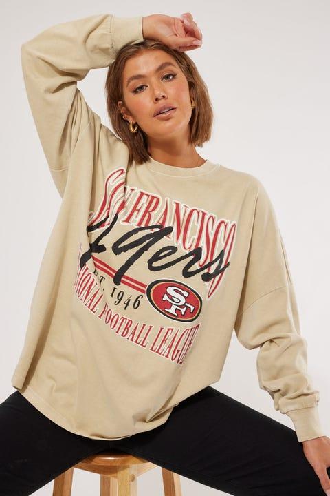 Majestic Athletic San Francisco 49ers NFL Script OS LS Tee Pale Khaki