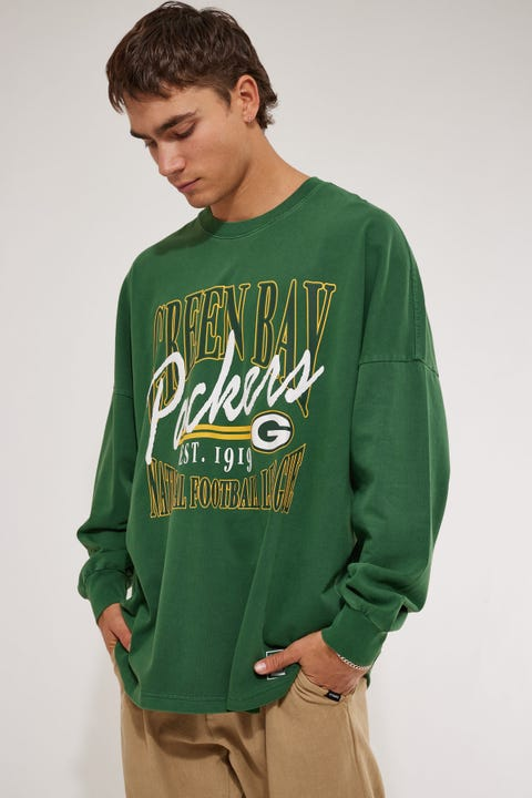 Majestic Athletic Packers NFL Script OS LS Tee Bottle Green