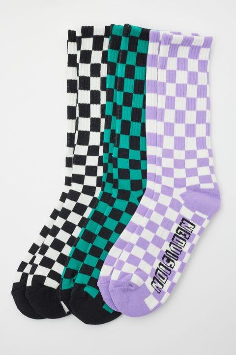 Neovision Checkerboard Sock 3 Pack Multi