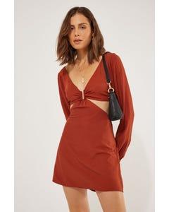 Perfect Stranger Faith U-Bar Mini Dress Rust