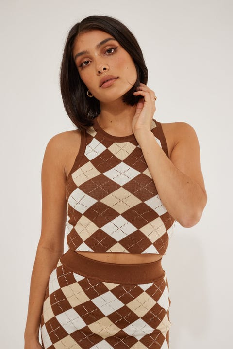 Luck & Trouble Love Again Knit Top Brown Print