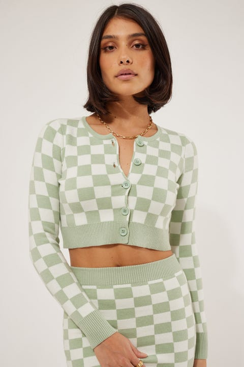 Luck & Trouble Checkerboard Knit Cardigan Green Check