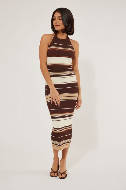 Perfect Stranger Multi Stripe Midi Dress Brown Stripe