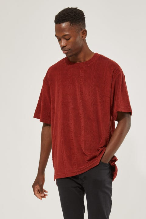 Common Need Burnout Terry Towelling Tee Auburn