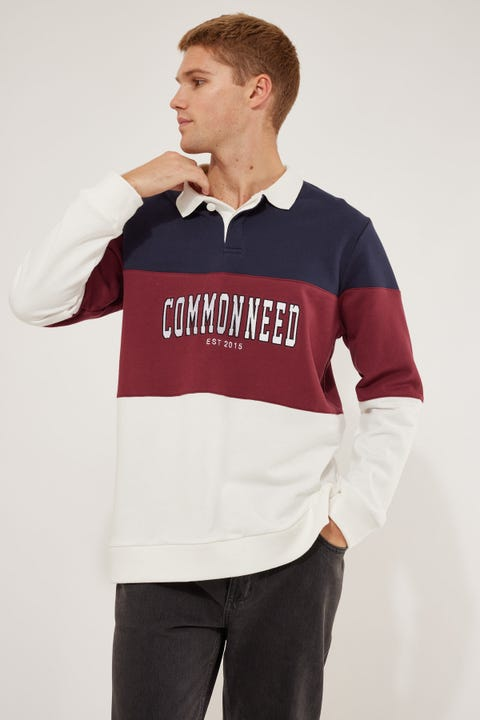 Common Need Rugby Panelled Jumper Navy/Burgundy/White