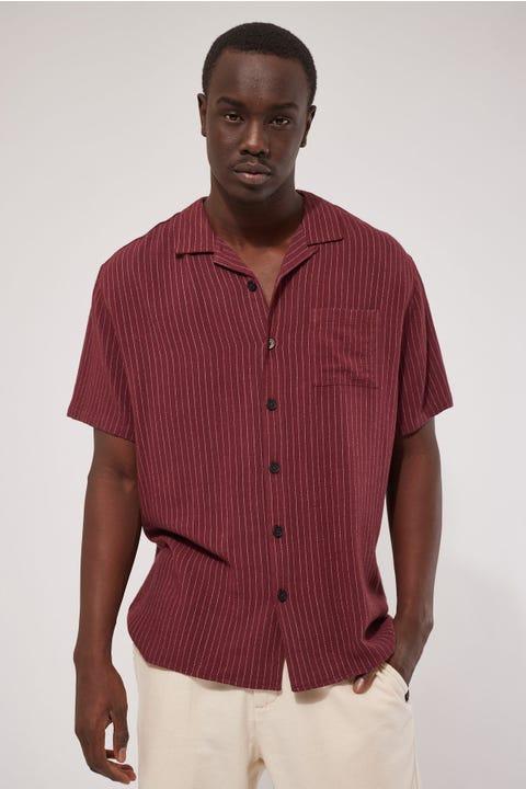 Common Need Cabos Resort Collar Shirt Burgundy Pinstripe