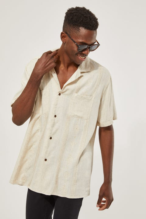 Common Need Mexico Pleated Resort Shirt Natural