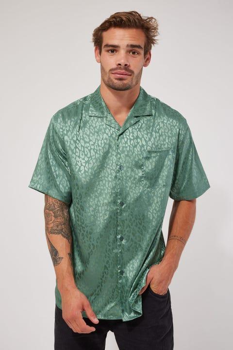Common Need Satin Jacquard Shirt Teal Leopard