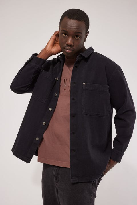 Common Need Drill Overshirt Washed Black