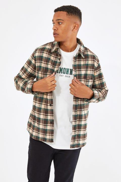 Common Need Camden Overshirt Brown/Teal Check