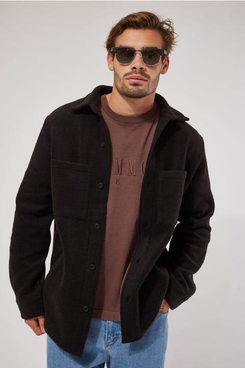 Common Need Winter Fleece Overshirt Black