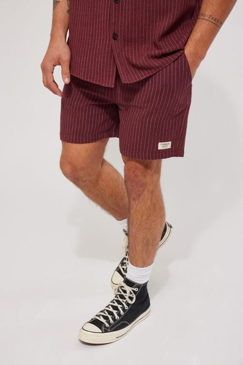 Common Need Cabos Short Burgundy Pinstripe