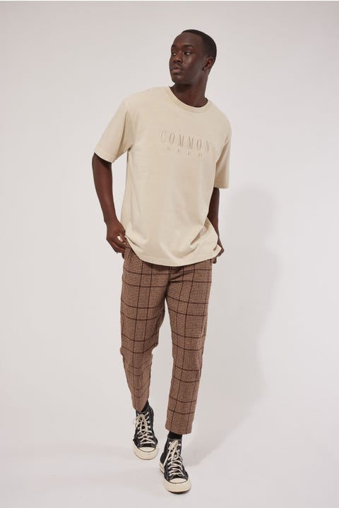 Common Need Heavyweight Double Pleat Pant Brown Check