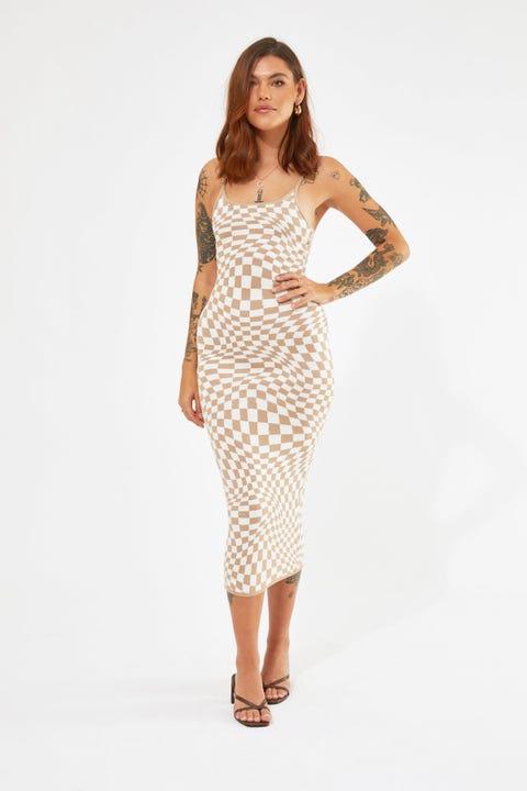 Perfect Stranger Adore You Check Midi dress Nude Print