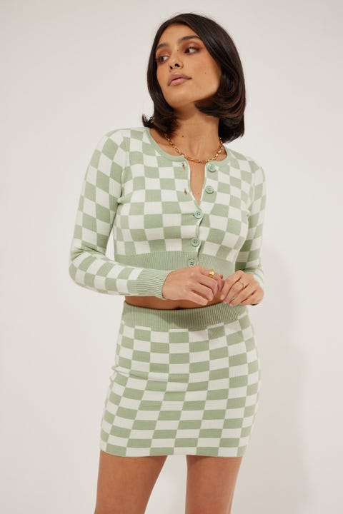 Luck & Trouble Checkerboard Knit Mini Skirt Green Check
