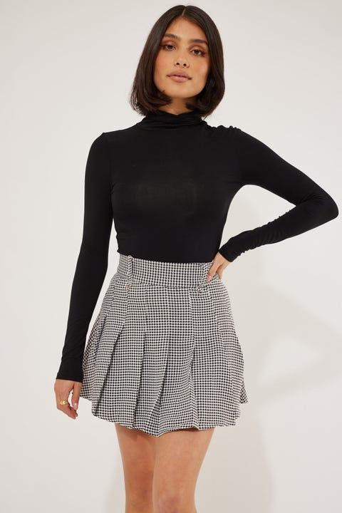Luck & Trouble Estate Check Mini Skirt Black Check