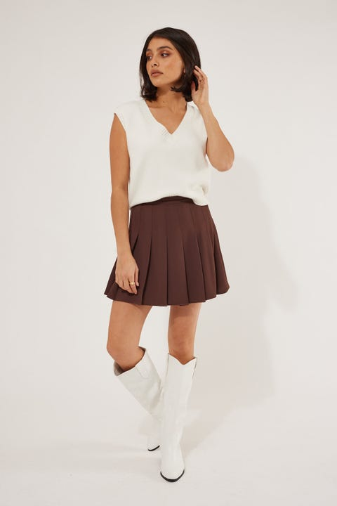 Luck & Trouble Schools Out Mini Skirt Brown