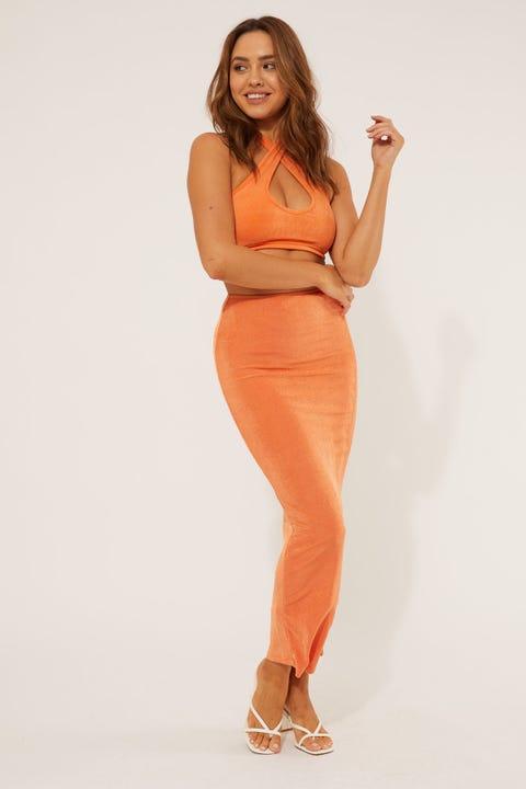Luck & Trouble Fantasy Midi Skirt Orange