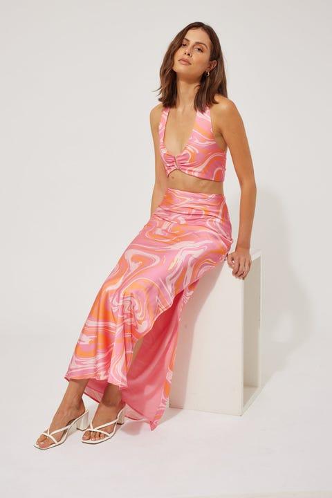 Perfect Stranger Psyched Satin Slip Skirt Pink Print