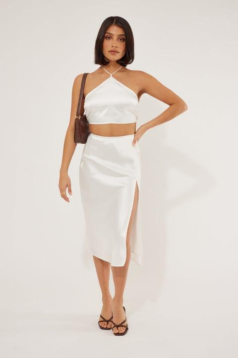 Perfect Stranger Split Satin Midi Skirt White