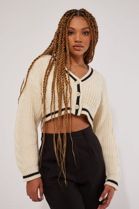 Luck & Trouble Long Ago Cable Knit Cardigan Cream