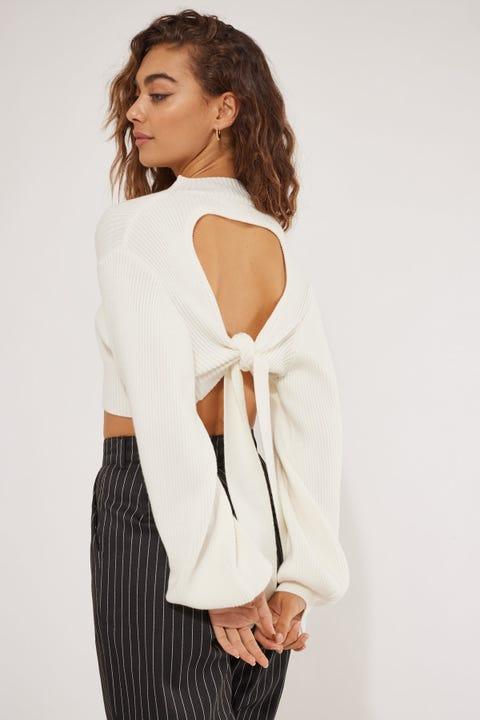 Perfect Stranger Open Tie Back Knit White