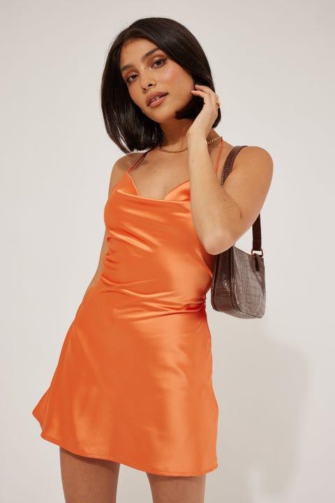 Luck & Trouble Lace Up Mini Dress Orange