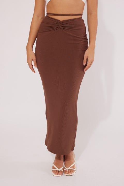 Perfect Stranger Waist Tie skirt Brown
