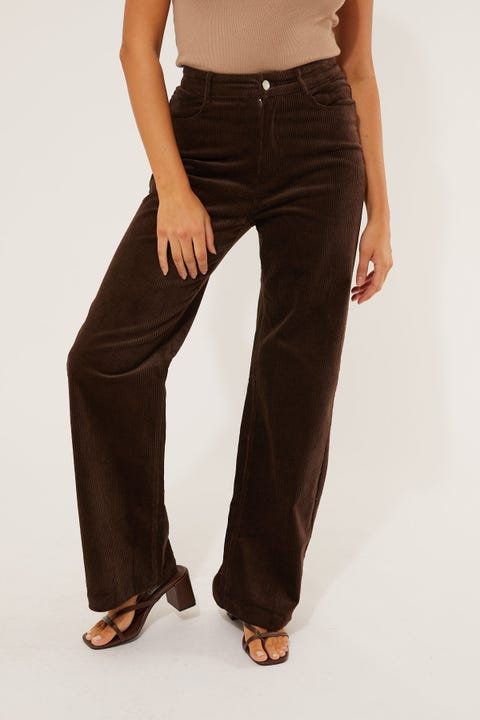 Luck & Trouble Maisy Cord Pant Brown