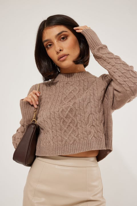 Perfect Stranger Inez Cable Knit Taupe