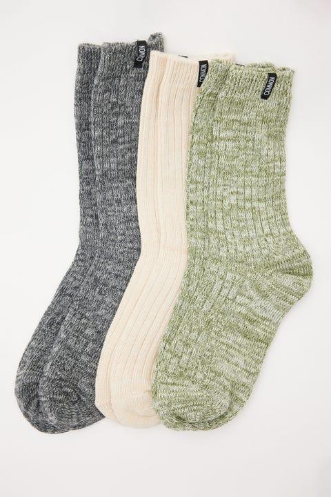 Common Need Marle Rib Knit Sock 3 Pack Multi