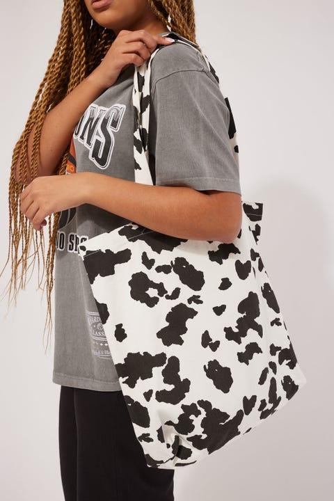Token Cow Print Tote Bag Black Print