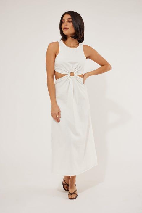 Perfect Stranger Rochester Midi Dress White