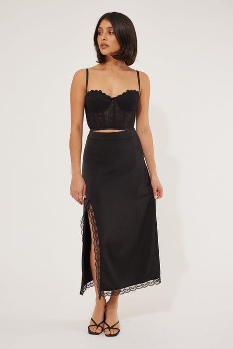 Perfect Stranger Midi Lace Trim Skirt Black