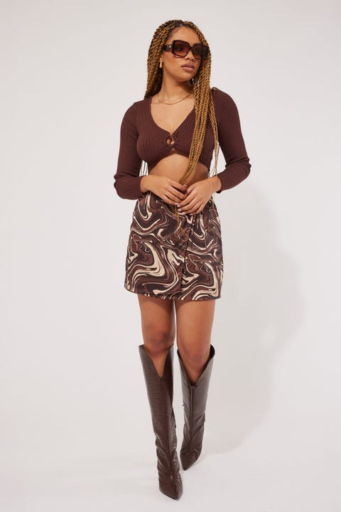 Perfect Stranger Groove Girl Satin Wrap Skirt Brown Print