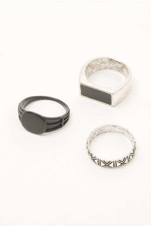 Common Need Signet Ring 3 Pack Black/Silver