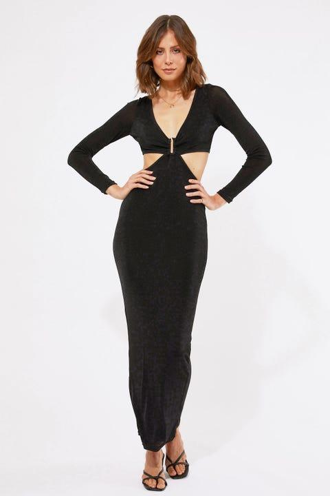 Perfect Stranger U-Bar Maxi Dress Black