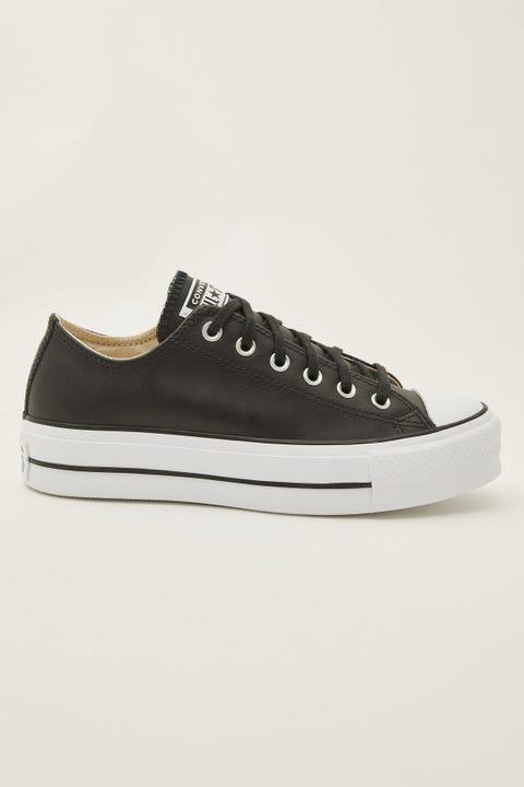 Converse Womens CT Ox Leather Lift Black/Black/White