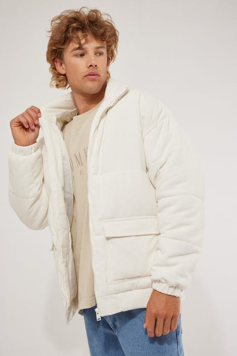 Common Need Everest Cord Puffer Jacket White