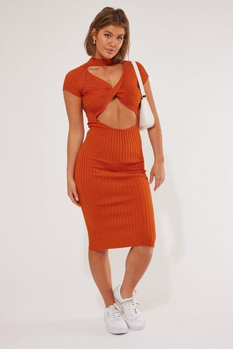 Luvalot Clothing Reverse Midi Dress Rust