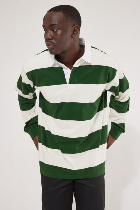As Colour Rugby Stripe LS Polo Shirt Natural/Forest