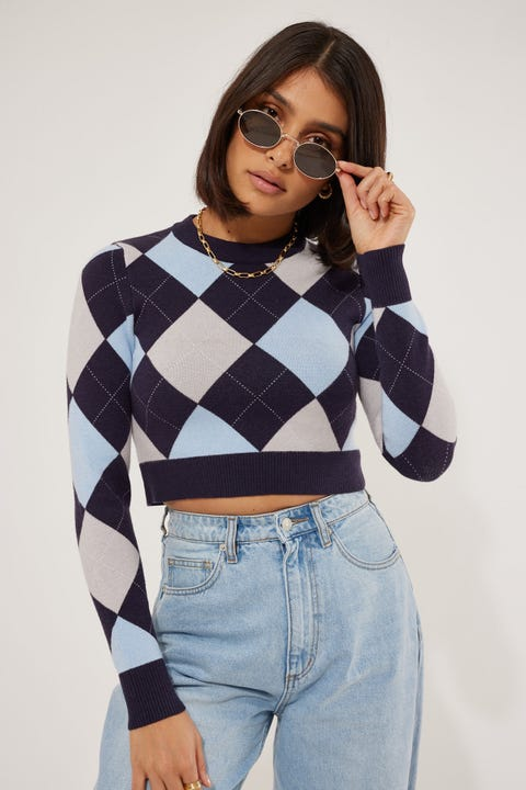 Luck & Trouble Forever Young Knit Top Blue Print