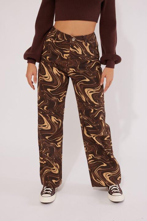 Perfect Stranger Shock Zone Wide Leg Pant Brown Print