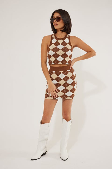 Luck & Trouble Love Again Knit Skirt Brown Print