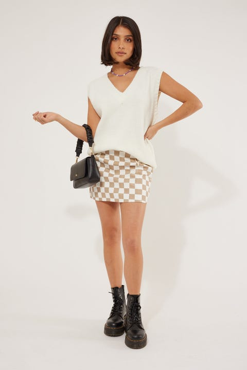 Luck & Trouble Check On It Mini Skirt Nude Print