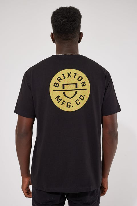Brixton Crest II Tee Black/Abstract Gold