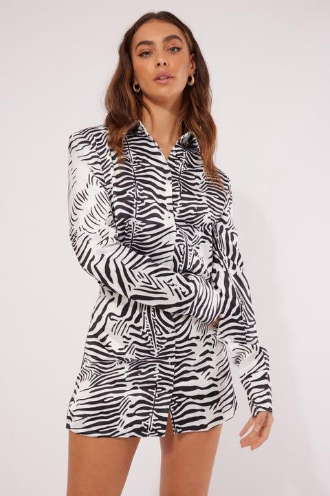 Lioness Mirror Image Mini Dress Zebra