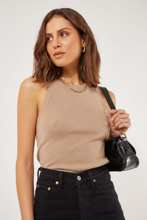 Perfect Stranger Knit Tank Top Nude