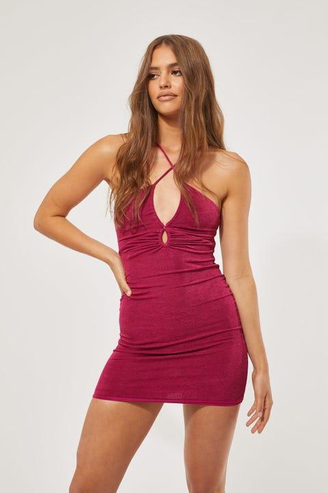 Luck & Trouble Slinky Keyhole Mini Dress Purple