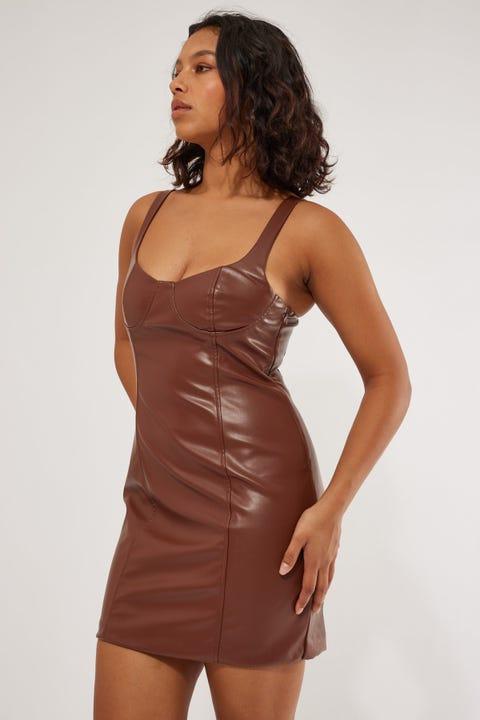 Perfect Stranger PU Dreams Mini Dress Chocolate